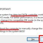 1-1-3:SATAなので、IDE互換モードにせよ。とあるが実際にはUSBで接続しているので「No」をクリック。