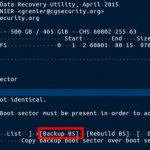 5-9:ブートセクターが破損しているようです。バックアップされたブートセクタ「Backup BS」があるようなので、それを選択し、Enterを押します。